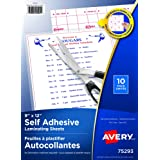 Avery Clear Self-Adhesive Laminating Sheets, 3 mm, 9 x 12 inches, 10 per Pack (73603)
