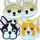 犬わんちゃんワッペンセット動物アイロンワッペン ≪豆しば 柴犬 フレンチブル コーギー (mix3種類×2枚ずつ 合計6枚セット) [並行輸入品]