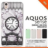 SHV40 スマホケース AQUOS sense SHV40 カバー アクオス センス 妖精と時計 黒 nk-shv40-1256