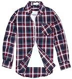 (クラベルテ) crbelte メンズ チェック 柄 シャツ長袖 ネルシャツ 選べる8色 (XL, 暗赤)