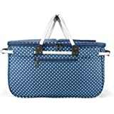 Eaglemate Foldable Outdoor Picnic Insulated Cooler Basket Storage Tote (Blue/White DOTS)