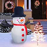 Sunlit 4.5ft Lighted Air Blown Snowman Christmas Inflatable Yard Decoration with Blower and Adaptor for Festive Indoor Porch