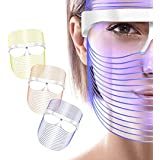 Australove 3 Colors LED Face Mask Red Light Therapy Facial Photon for Healthy Skin Rejuvenation, Collagen, Anti Aging, Wrinkl