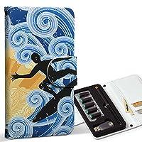 スマコレ ploom TECH プルームテック 専用 レザーケース 手帳型 タバコ ケース カバー 合皮 ケース カバー 収納 プルームケース デザイン 革 その他 クール サーフィン 波 001234