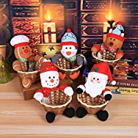 Lihou クリスマスキャンディバスケット クリスマスアップルバッグ 子供のキャンディバッグ 新しいクリスマスデコレーション用品 クリスマスアップルバッグ サンタクロース ドレスアップホリデーギフトバッグ キャンディストレージバッグ (5セット) (18*12CM)