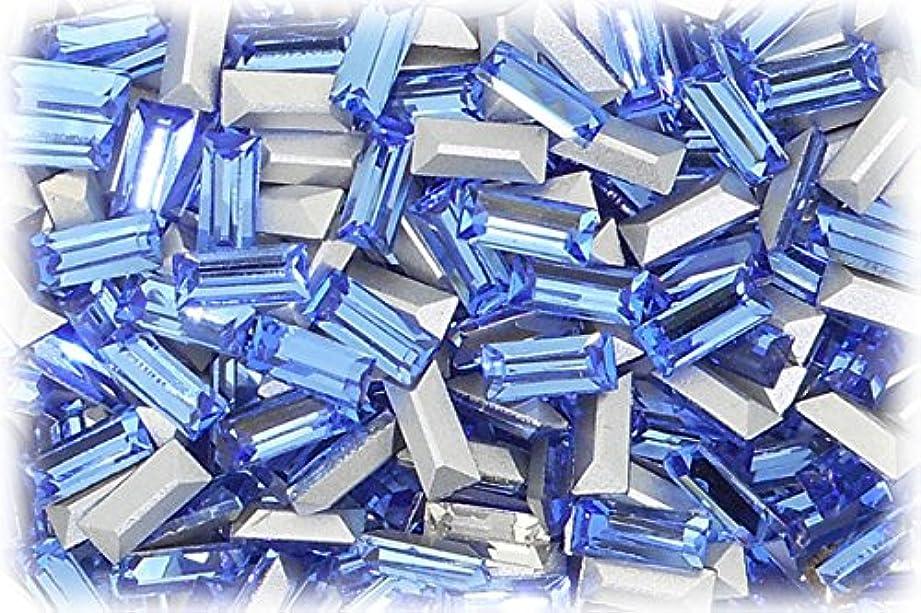 ファイナンス懲戒代数SHAREKI CRYSTAL Vカット (チャトン) ラインストーン バケット (四角形)スカイ 3mmx7mm 4個入りx3セット=12個  sky-3x7