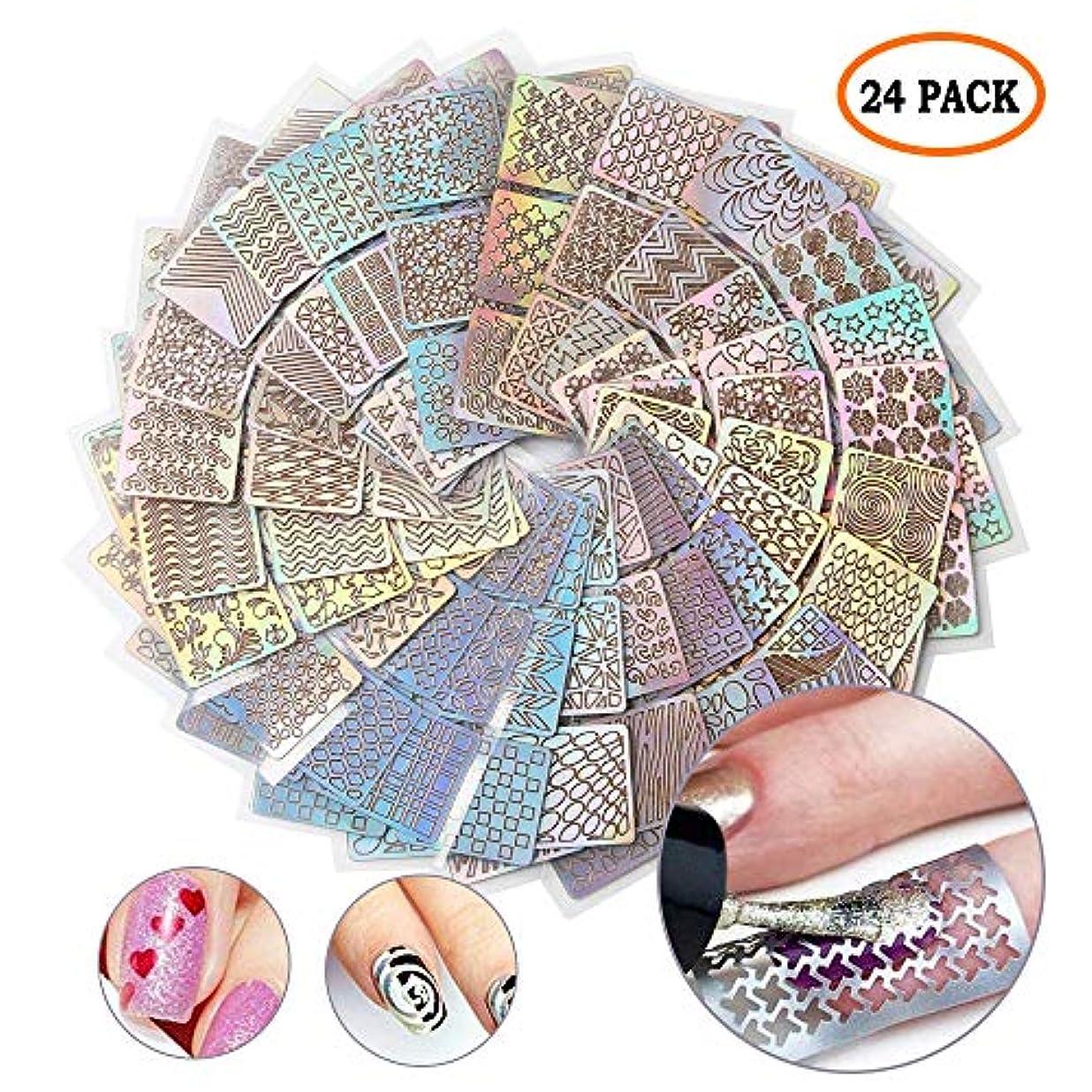 満州断片ブルLATTCURE ネイルステッカー 「24枚セット」 ネイル用装飾 ネイルシール かわいい 貼るだけ ネイティブ柄 多様な図柄 エコ素材
