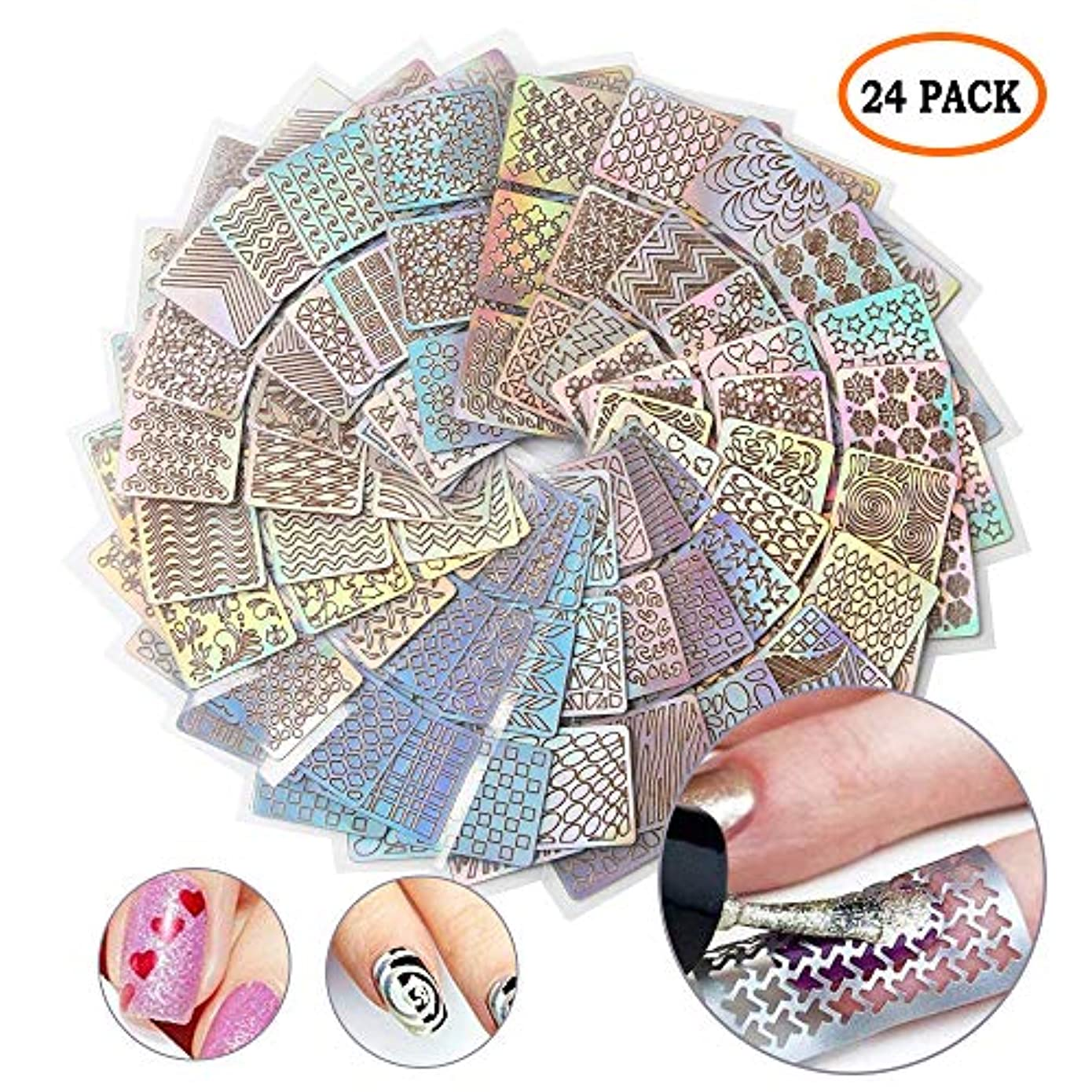 油威信タイトルLATTCURE ネイルステッカー 「24枚セット」 ネイル用装飾 ネイルシール かわいい 貼るだけ ネイティブ柄 多様な図柄 エコ素材