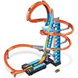 Hot Wheels Sky Crash Tower Track Set, 2.5+ ft / 83 cm High with Motorized Booster, Orange Track & 1 Hot Wheels Vehicle, Race