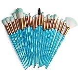 KOLIGHT Pack of 20pcs Cosmetic Eye Shadow Sponge Eyeliner Eyebrow Lip Nose Foundation Powder Makeup Brushes Sets (Bling+blue)