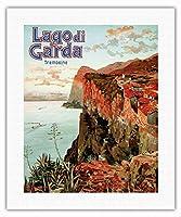 ガルダ湖 - トレモージネ、イタリア - ビンテージな鉄道旅行のポスター によって作成された エットーレ・エリオ・シメネス c.1920s - キャンバスアート - 41cm x 51cm キャンバスアート(ロール)
