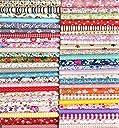 Liuliu 花柄プリント 生地 可愛い はぎれセット DIY 手芸用 布 素材 パッチワーク 給食袋 ポーチなどの作りに (50枚 20cm x 20cm)