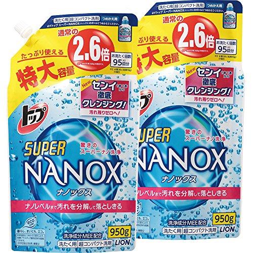 トップ スーパーナノックス 洗濯洗剤 液体 詰替特大 950g 2個パック