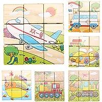 Greensun TM子供3dパズル教育玩具6つSides 9ピース木製マジックキューブBaby Transportation Jigsawパズルキューブおもちゃ