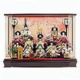 人形の久月 雛人形 ケース飾り 衣装着 十五人飾り 間口(横幅)60×奥行41.5×高さ44(cm) 15kyu-65220kj