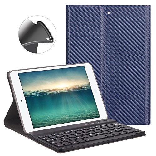 GOOJODOG iPad mini キーボード ケース GOOJODOQ iPad mini mini2/mini3 専用 bluetooth レザー 超薄 滑り止め スタンド機能 分離式キーボード 全面保護カ(クールネイビー)