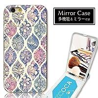 301-sanmaruichi- iPhone7Plus ケース iPhone7Plus ケース ミラーケース 鏡付き ミラー付き カード収納 おしゃれ モロッカン柄 幾何学模様 水彩 花 カラフル Moroccan ジオメト B