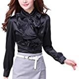 Womens Victorian Blouse Lolita Lace Stand up Collar Lotus Ruffle Shirt