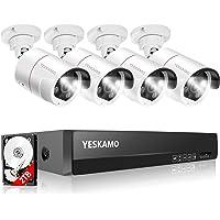 【500万画素・双方向通話】 YESKAMO 防犯カメラ 屋外 録音 POE防犯カメラ 4台 8ch-NVR システム…