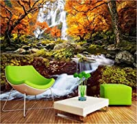 Weaeo 黄金の秋美しい新鮮な風景の滝テレビの壁の壁のカスタム3Dリビングルームの壁紙-450X300Cm