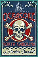 Ocracoke島、ノースカロライナ州–Skull And Crossbones 9 x 12 Art Print LANT-53065-9x12