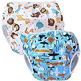 Teamoy 水遊びパンツ 2点セット 0-3歳 赤ちゃん用 ボタンでサイズ調整可能 防水外層 ポリエステルメッシュ内層 オムツカバー スイミング教室・公園・海水浴・温泉旅行(飛行機+可愛い笑顔)