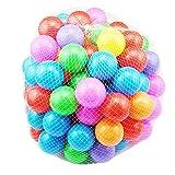 カラーボール おもちゃボール 7色100個 直径5.5cm やわらかポリエチレン製 収納ネットセット(プール/ボールハウス用)