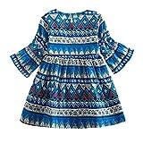 Mimoonkaka 子供服 幼児 赤ちゃん 女の子 ロング スリーブ プリント ボヘミアン スタイル パーティー ドレス 衣装 秋 冬 人気