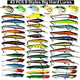 Fishing Lures Set 48pcs Assorted Bass Fishing Lure Kit Colorful Minnow Popper Crank Rattlin VIB Jointed Fishing Lure Set Hard Crankbait Tackle Pack For Saltwater or Freshwater