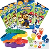 Paw Patrol Party Favor Set - 6 Grab & Go Coloring Book Play Packs 12 Paw Print Rubber Bracelets 12 Paw Print Stampers