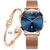 OLEVS Ultra Thin Watches for Women with Bracelet Set, Ladies Slim Classic Casual Analog Date Wristwatch for Female Teens Wate