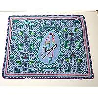 【アマゾン先住民のシピボ族の手刺しゅう布・画像現品販売】【008】 独特で個人的な模様したデザインの刺繍布 ハンドメイド ペルー直輸入
