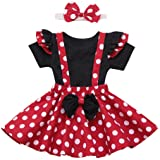 Toddler Kids Baby Girl First Birthday Outfit Fly Sleeve T Shirt Top + Polka Dot Suspenders Bowknot Tutu Skirt Set