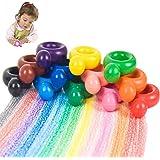 Jarhit 幼児クレヨン、赤ちゃん用の12色のペイントクレヨン、幼児用のリング形の洗濯可能なワックスクレヨン、パームグリップクレヨンドゥードル赤ちゃん、子供、男の子、女の子ためのおもちゃギフト