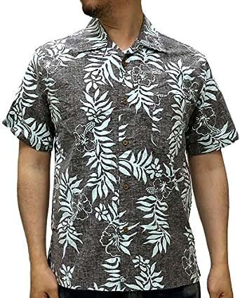 (ルーシャット) ROUSHATTE アロハシャツ 半袖 シャツ ハイビスカス 20柄 S ブラウン
