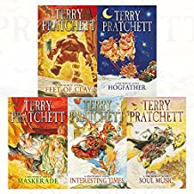 discworld novel series 4 :16 to 20 books collection set (soul music, interesting times, maskerade, feet of clay, hogfather)