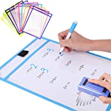 Dry Erase Pockets, Dry Erase Pockets a4, Assorted Colors Wipe Clean Pockets for School Children Kids Education, Reusable Dry