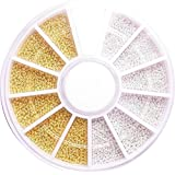 【jewel】大容量 ブリオン ホワイト&ゴールド ケース付き ネイル
