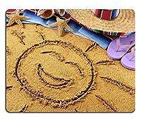y011 Natural Rubber Gamingマウスパッドマウスマットサンブレロの帽子でメキシコのビーチで砂に描かれた笑いの太陽伝統的なserapeの毛布ヒトデと貝殻PM011160