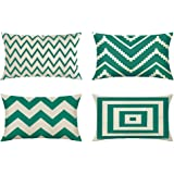 MIULEE Pack of 4 Decorative Wave Pattern Outdoor Pillow Cover Geometric Style Durable Cotton Linen Burlap Square Throw Cushio