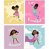 Set of 4 Girls Room Decor, Motivational Black Girl Wall Art, (Unframed) Kids Room Decor For Girls, Posters For Tween Girls Ro