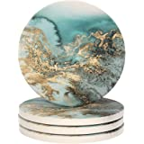 Lahome Marble Pattern Coasters - Round Drinks Absorbent Stone Coaster Set with Ceramic Stone and Cork Base for Kinds of Mugs