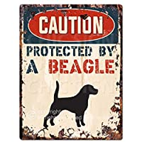 """Caution Protected By A BeagleシックSignヴィンテージレトロ素朴な9"""" x12""""メタルプレートホーム部屋ドア壁装飾"""