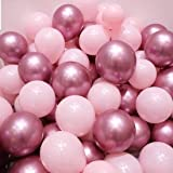 Light Pink and Mauve Balloons, 50PCS 12 Inch Latex Balloons and 5PCS Pink Ribbons for Party Decorations