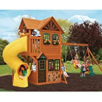 Cedar Summit Play Set Wooden HouseデッキSwings Rockwallツイストスライドアウトドア