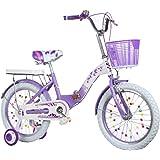 子供4-7歳パープルのための適切な訓練ホイール16インチの男の子と女の子サイクリングとサイクリングキッズバイク高炭素鋼子供の自転車、