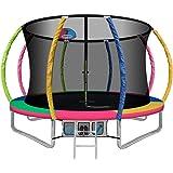10/12/14/16FT Trampoline for Kids Everfit Kids Trampolines w/Enclosure & Basketball Hoop Kids Gift Safety Net Pad Outdoor Tra