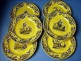 アンティーク 黄色の 陶皿 6枚 セット 絵皿 プレート 飾り皿 スペイン 衣装 フランス クレイユ 19世紀 [並行輸入品]