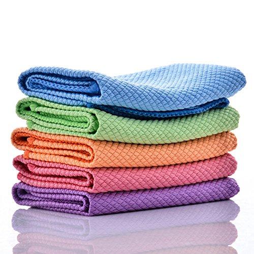 マイクロファイバー 雑巾 用途多数 掃除用品 クリーニング 速乾タオル 強力吸水 毛を抜けない 洗って繰り返し使える 5枚