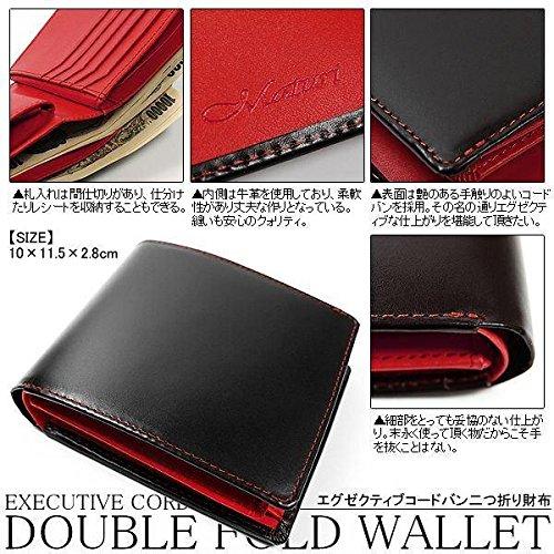 コードバン×牛革 ステッチがおしゃれな二つ折り財布 [ Maturi ] メンズ 紳士 誕生日プレゼント 3009 (ブラック×レッド)